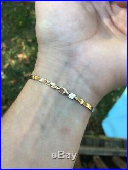 14k Solid Gold Herringbone chain Italian bracelet 3.4mm wide, 7.25 length