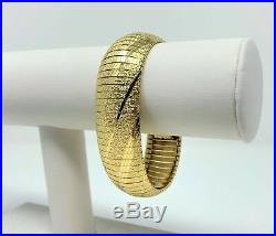 14k Solid Yellow Gold 40g Heavy Wide Diamond Cut Omega Link Bracelet Italy 7.25