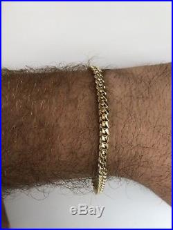 14k Solid Yellow Gold 5mm Wide Miami Cuban Link Men's Bracelet 8.5 18.3g HEAVY