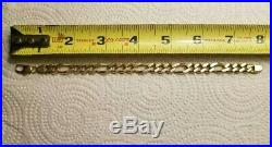 14k Solid Yellow Gold Figaro Mens Heavy Chain Link 5/8 Wide 28.6G Bracelet 8