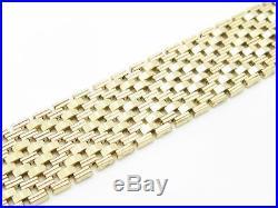 14k Solid Yellow Gold Vintage Estate Wide Link Flat Basket Weave Bracelet Gift