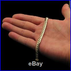 14k Solid Yellow Gold Women's Cuban Curb Hollow Bracelet 7mm Wide 7.5