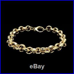 14k Solid Yellow Gold Women's Diamond Cut Cable Hollow Bracelet 8.5mm Wide 7.5