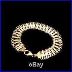 14k Solid Yellow Gold Women's Mesh Hollow Bracelet 12mm Wide 7.5