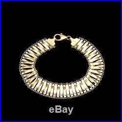 14k Solid Yellow Gold Women's Mesh Hollow Bracelet 9mm Wide 7.5