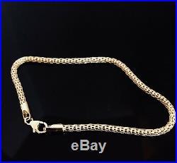 14k Solid Yellow Gold Women's Snake Stracheble Bracelet 3mm Wide 7.5