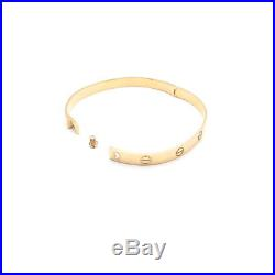 14k Solid Yellow White Gold Unisex Screw Two-tone Bangle Bracelet 6mm Wide 7.5