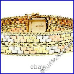 14k Tri Color Gold 11.5mm Wide Etched Textured Arrow Woven Pattern Bracelet