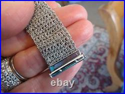 14k White Gold Italy 20 MM Wide Mesh Designer 7 Bracelet By Nova Rare Find