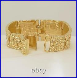 14k YELLOW GOLD CUSTOM MADE HEAVY NUGGET BRACELET 141.5g 1.23 WIDE 8