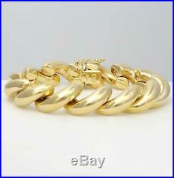 14k YELLOW GOLD HIGH POLISH SAN MARCO MACARONI WIDE LINK BRACELET 29.6g 7