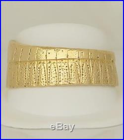 14k YELLOW GOLD HIGH POLISH WIDE SOLID HEAVY RIBBED TRIBAL CUFF BRACELET 7