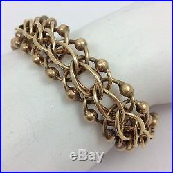 14k Yelllow Gold Wide Charm Bracelet