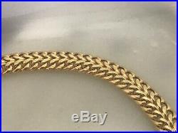 14k Yellow Gold 10 mm Wide Fancy Interwoven Chain Link Bracelet Italy 7