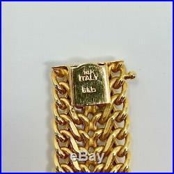 14k Yellow Gold 16mm Wide Fancy Interwoven Chain Link Bracelet Italy 7