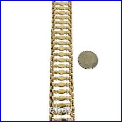 14k Yellow Gold 25.2g Ladies Wide 20mm Fancy Link Bracelet Italy 7.25
