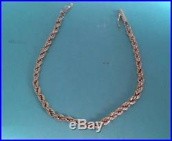 14k Yellow Gold 3mm Wide Diamond Cut Rope Chain Bracelet 6 1/4 long (345)