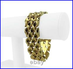 14k Yellow Gold 50.4g Ladies Heavy Wide 25mm Fancy Link Bracelet 7.5
