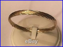 14k Yellow Gold 5.8mm Wide Twisted Hollow Hinged Bangle Bracelet 7.9 Grams