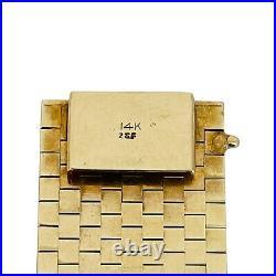 14k Yellow Gold 68g Vintage Ladies Wide 26.5mm Strap Brick Link Bracelet 7.5