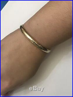 14k Yellow Gold 6.35mm Wide Textured Hinged Bangle Bracelet, 8 Grams