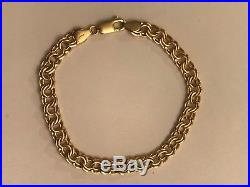 14k Yellow Gold 6.6mm Wide Double Link Hollow Charm Bracelet 8 6.2 Grams