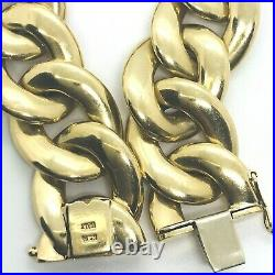 14k Yellow Gold 7.5 Inch Oval Solid Link Bracelet 51.8 Grams 20 mm 0.79 Wide