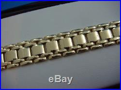 14k Yellow Gold 8 Long Watch Band Design Link Bracelet, 15.3 Grams, 9 MM Wide