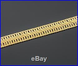 14k Yellow Gold 8 Long Wide Italian Mesh Fancy Link Bracelet 11.96 Grams