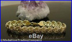 14k Yellow Gold 8mm Wide Byzantine Rosetta Love Knot Rosa Infinity Bracelet 7