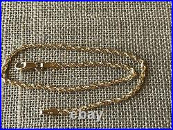 14k Yellow Gold Bracelet Rope Chain 1.62g Michael Anthony Ma 2 mm Wide 7