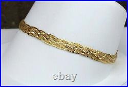 14k Yellow Gold Braided Herringbone Bracelet 7 Long, 5mm Wide, 6.0 Grams