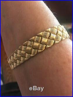 14k Yellow Gold Braided Large Wide Heavy Bracelet 7.5-8 16 Grams Beautiful