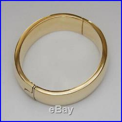 14k Yellow Gold Classic Oval Bangle Bracelet Wide 18MM 7 Inch 40 grams