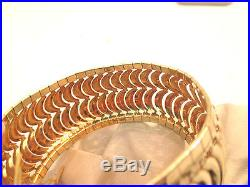 14k Yellow Gold Flexible Bangle Bracelet 33.1g 1 1/8 wide Fits 8 Wrist
