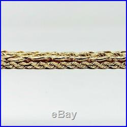 14k Yellow Gold Heavy 70.7g Wide 28mm Fancy Curb Rope Link Bracelet 7.5