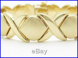 14k Yellow Gold Hugs & Kisses Vintage Estate Wide XOXO Bracelet 20.0 Grams Gift