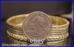 14k Yellow Gold Italy 12mm Wide Flat Mirror Bar Reversible Bracelet 7.2 12 gram