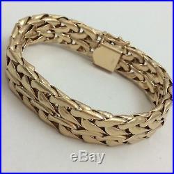 14k Yellow Gold Mens Or Ladies 15 Wide Bracelet