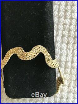 14k Yellow Gold Mesh Flex Wave snake Bracelet 1/2 Wide, 8 Long, 6 Grams