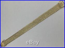 14k Yellow Gold Mesh Wide Long Bracelet