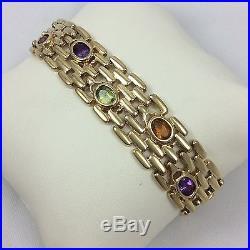 14k Yellow Gold Multi Color Gemstone 16mm Wide Bracelet