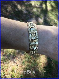 14k Yellow Gold Nugget Bracelet Adjustable 7. 3/4 Wide. 35.70 Grams 15 MM