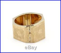 14k Yellow Gold Octagonal Shape Floral Design 1.50 Wide Bracelet 75gr
