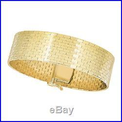 14k Yellow Gold Omega Bracelet Shiny Rectangle Brick Pattern 7 Long 20mm Wide