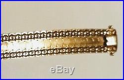 14k Yellow Gold Ornate Wide Flexible Bangle Bracelet Cuff Italy 21 gr. 7 1/2