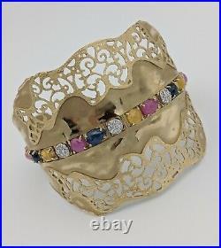 14k Yellow Gold Sapphire Ruby Diamond Wide Filigree Cuff Bangle Bracelet