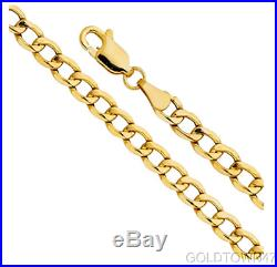 14k Yellow Gold Semi-solid Curb Chain Mens 6.2mm Wide Bracelet