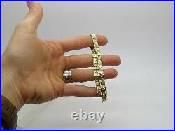 14k Yellow Gold Shiny Nugget Pattern 5mm Wide Panel Link Bracelet 7 Long