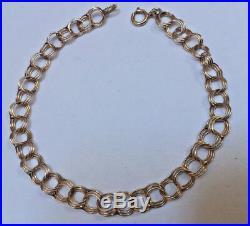 14k Yellow Gold Triple Circle Link Charm 7' Bracelet 6 mm wide